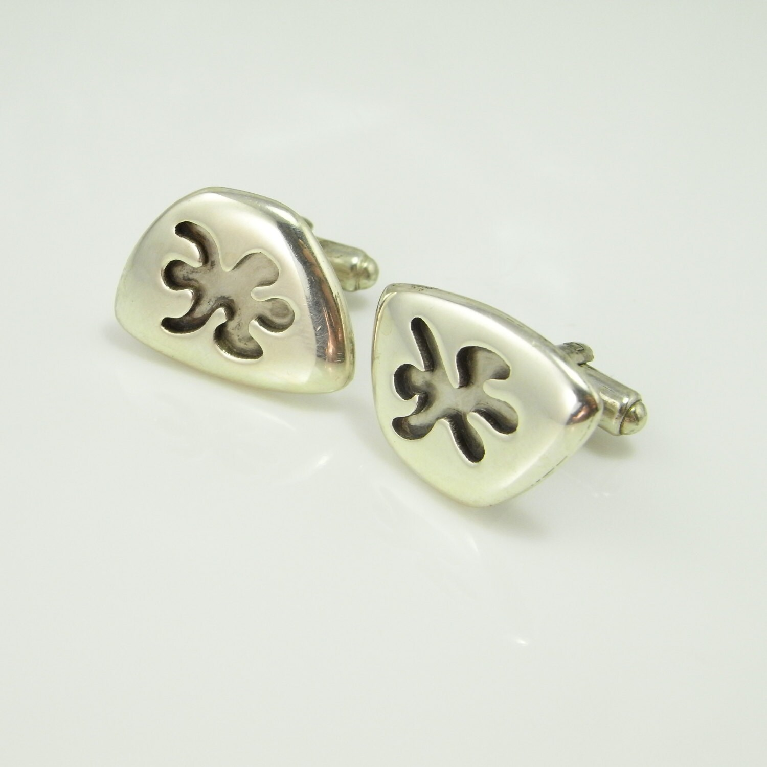 Abstract Floral Daisy Lozenge European Silver Cuff Links Unique Vintage Mens Wedding Cufflinks Jewelry For Groom Accessories Gifts