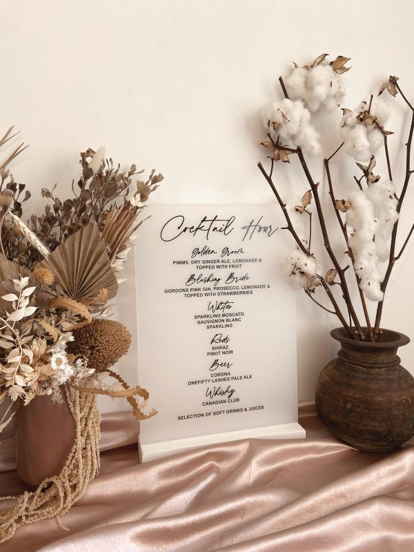 Acrylic Cocktail Bar Menu Sign   Wedding Drinks Frosted White Black Acrylic Welcome Menus Willow & Ink