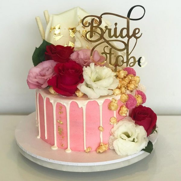 Acrylic Gold Mirror Bride To Be Cake Topper - Wedding Engagement Bridal Shower Decoration
