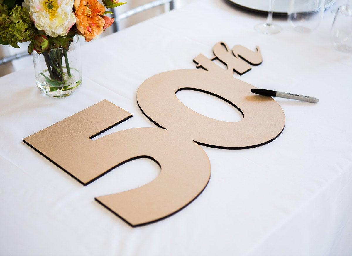Anniversary Guestbook Sign Or Photo Prop Decor, Diy Painted For Party Event - Decor   Item Gba050