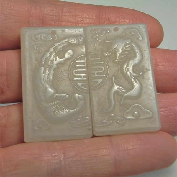 Antique Jade Amulets Double Happiness Happy Marriage Dragon Phoenix Pendants Qing Dynasty Chinese Jewelry His Hers Wedding Day Bridge Groom