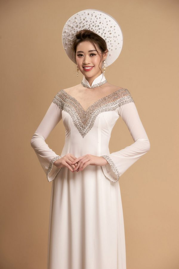 Ao Dai For Couples Or Single, Beautiful White Custom Tailored Wedding Dai, Traditional Vietnamese Raglan Dress For Bride Made To Order