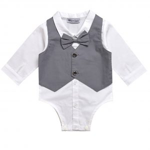 Baby Kids Children Toddlers Formal Wedding Function White Shirt Grey Vest Romper Suits Outfits
