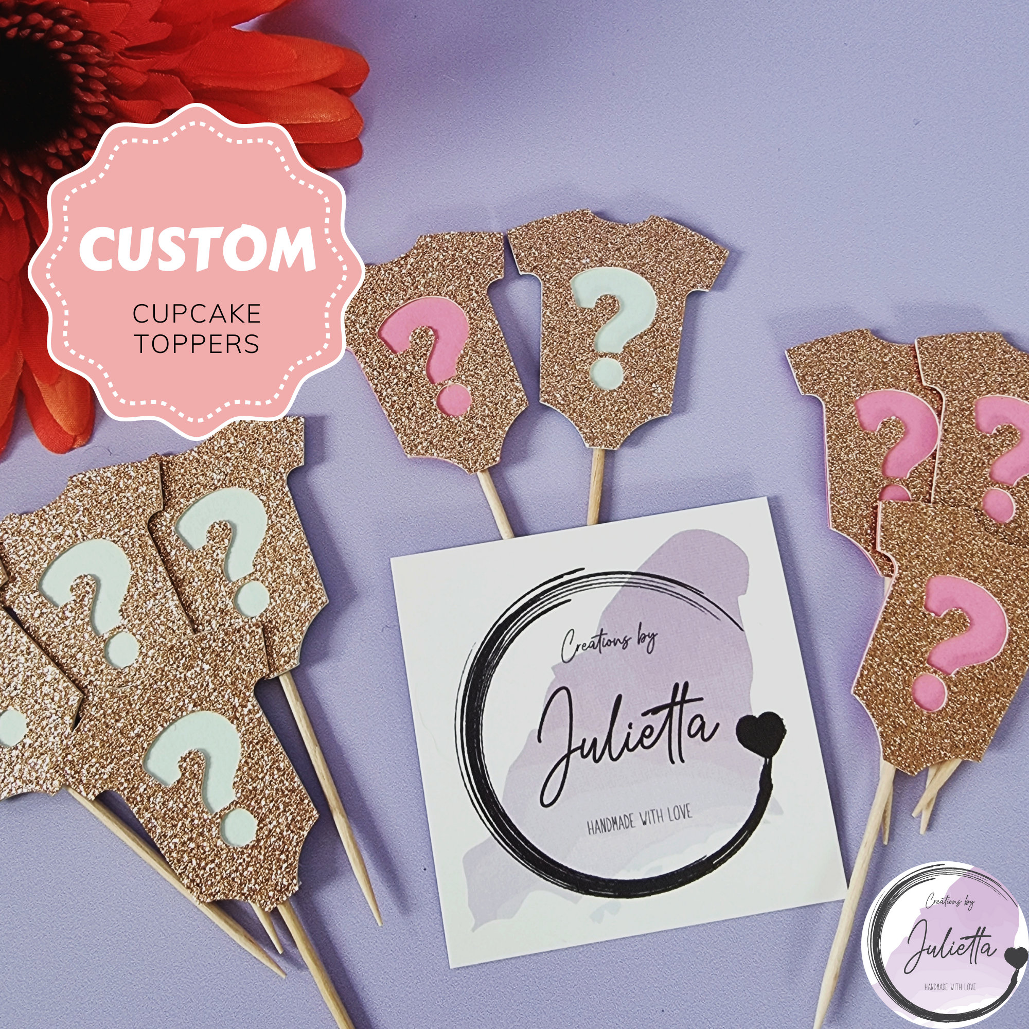 Baby Shower Cupcake Toppers - Gender Reveal Toppers, Bay Decoration, Boy Or Girl Shower, Decor