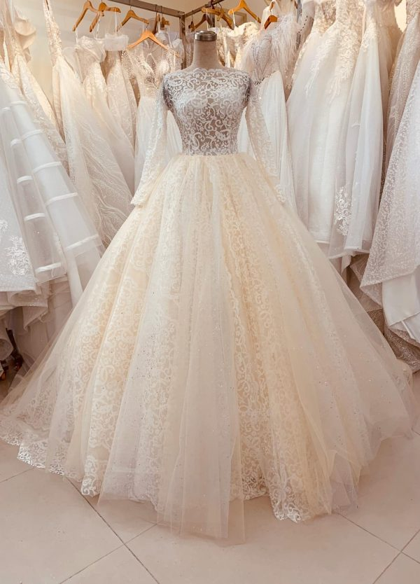 Beautiful Blush Princess Long Sleeves Lace Wedding Dress Made To Order With Unique Sabrina Neckline & Vintage Flowers Detailing
