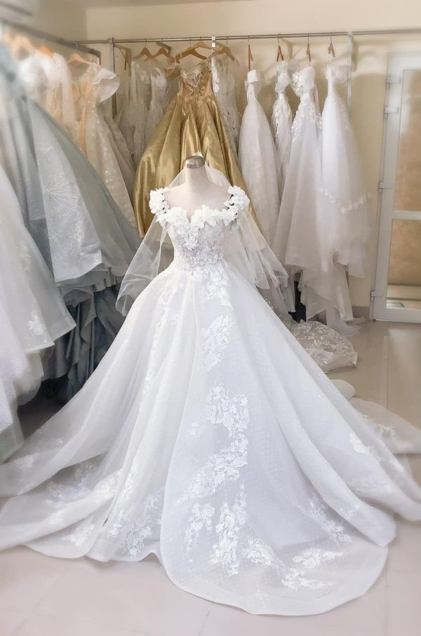Beautiful Classic Princess White Wedding Dress Made To Order, Vintage Lace Gown, Bridal Gown For A Fairy Tail
