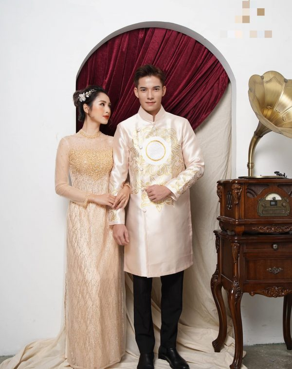 Beautiful Gold Quality Silk & Beaded Wedding Ao Dai For Couples, Custom Tailored Traditional Vietnamese Made To Order