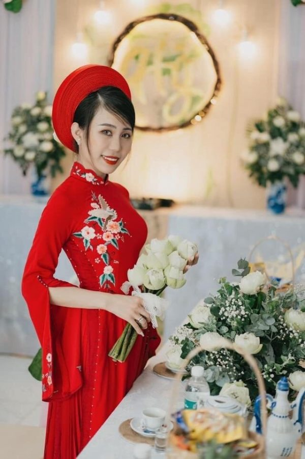 Beautiful Red Embroidery Traditional Vietnamese Wedding Ao Dai, Custom Tailored Dai Made To Order