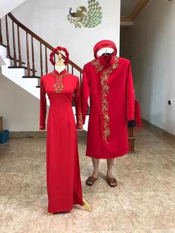 Beautiful Red Or Pink Quality Silk Wedding Ao Dai For Couples, Custom Tailored Beaded Traditional Vietnamese Dress Made To Order