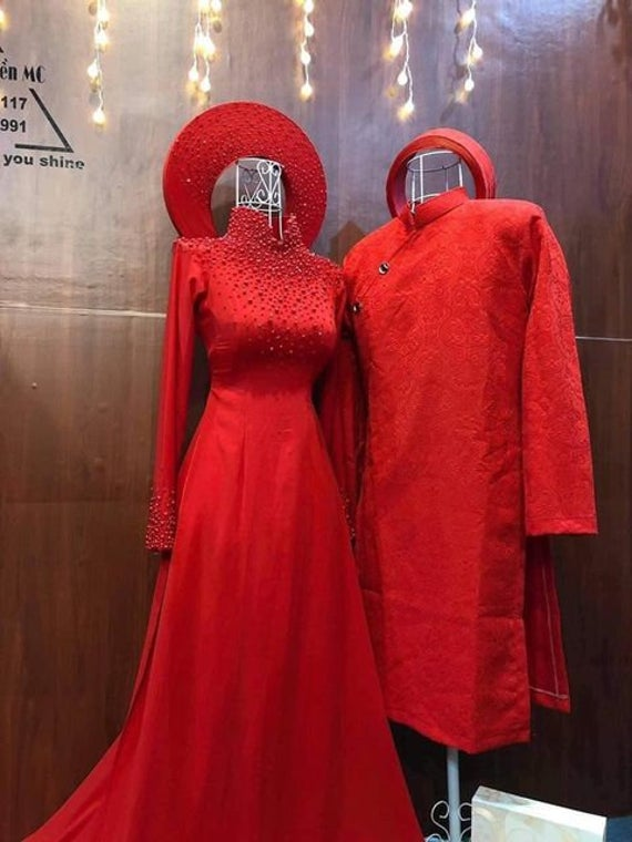 Beautiful Red Quality Silk Beaded Wedding Ao Dai For Couples, Custom Tailored Traditional Vietnamese Dress Made To Order