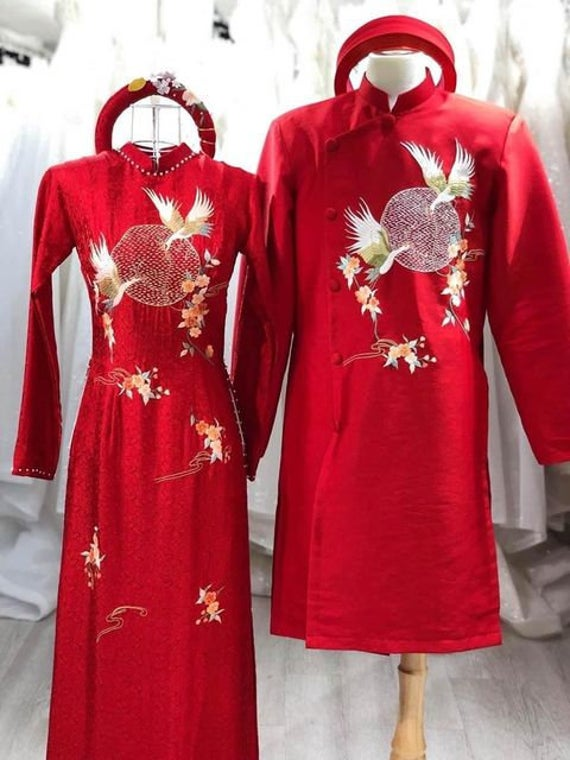 Beautiful Red Quality Silk Wedding Ao Dai For Couples, Custom Tailored Traditional Vietnamese Dress Made To Order