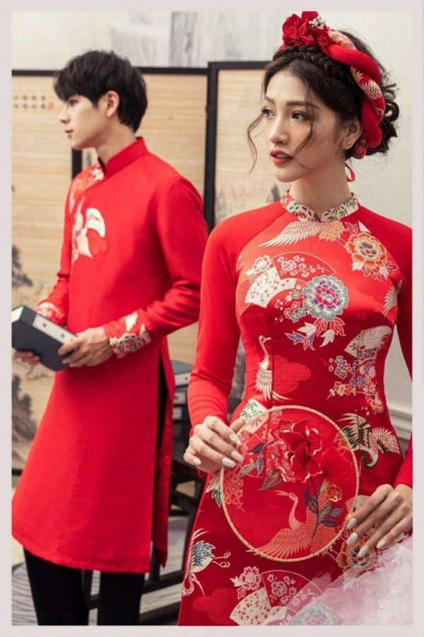 Beautiful Red Traditional Vietnamese Wedding Ao Dai For Couples, Custom Tailored Made To Order