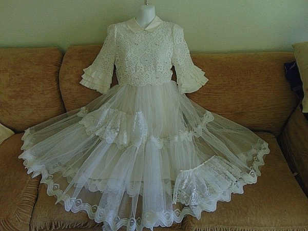 Beautiful Shabby Chic Vintage Frothy Net & Lace Dress Sz 10 Boho Garden Bridal Special Occasion