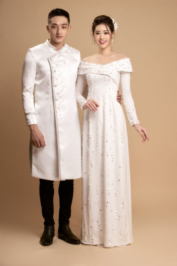 Beautiful White Silk Satin Ao Dai For Couples Or Single, Custom Tailored Beaded Traditional Vietnamese Dress Made To Order