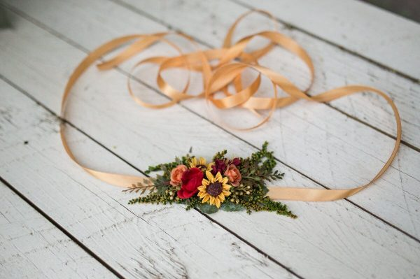 Belt With Sunflowers Summer Belt Yellow-Red-Green Combination Wedding Bridal Accessories Floral On Satin Ribbon Dress