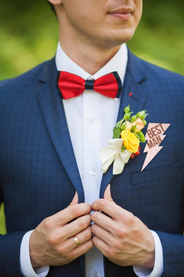 Best Man Pin Wooden Badge Lightning Bolt For Boutonnière - Bridal Gift Men's Accessory Wedding Party Rustic   Item Mbm100