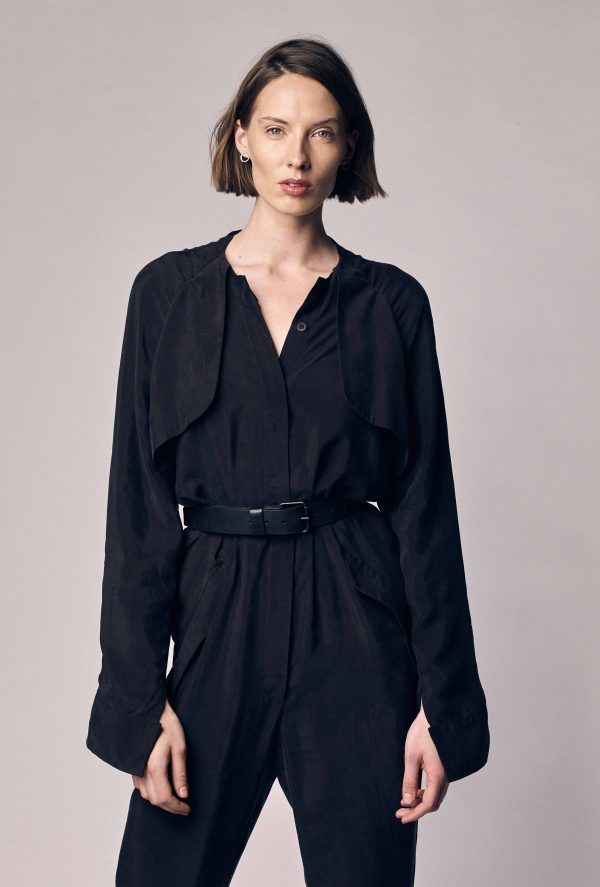 Black Cupro Fabric Jumpsuit/Long Sleeve Womens 80S Jumpsuit Sustainable Clothing