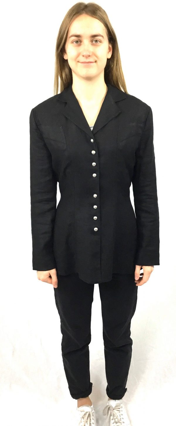 Black Linen Jacket, 1990S, Vintage Cue Design, Long Sleeve, Fitted, Belted, Silver Buttoned, Flattering Fit, Evening, Wedding, Corporate