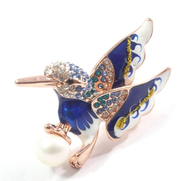 Blue Bird White Freshwater Cultured Pearl Brooch 9.5-10.0mm