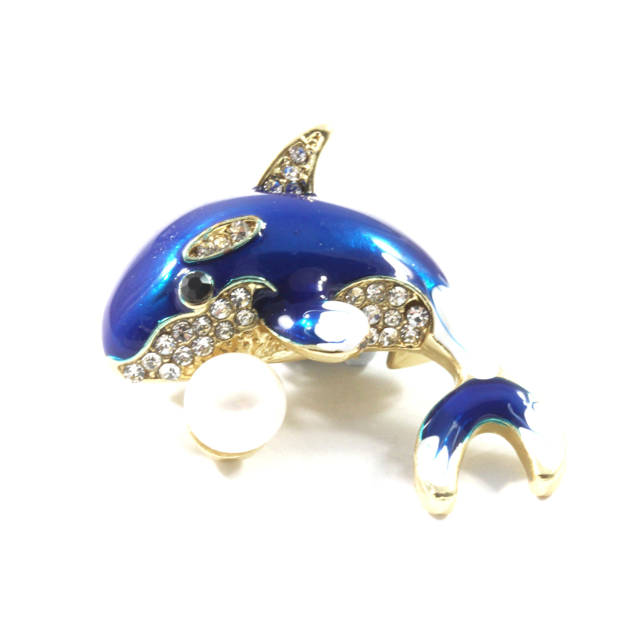 Blue Dolphin Freshwater Cultured Pearl Brooch 7.5-8.0mm