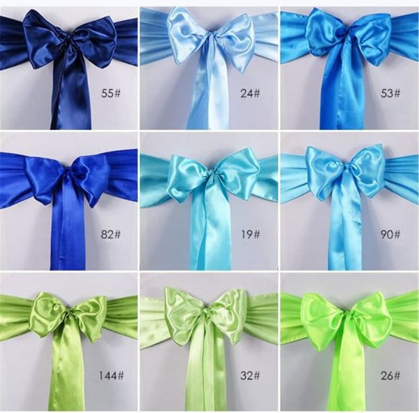 Blue Green Satin Chair Sashes Bows Ties Sash For Wedding Reception Birthday Party Anniversary Venue Decoration