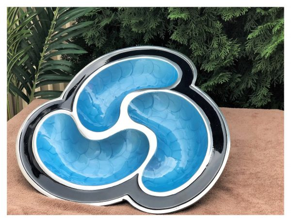 Blue Large Serving Tray Atomic Space Age Trays For Coffee Table Metal Fruit Enamel Hand Painted Wedding Gifts Her