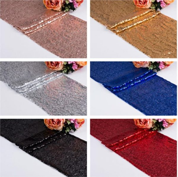 Blue Silver Rose Gold Sequin Glitter Table Runner Engagement Wedding Reception Birthday Anniversary Function Party Dinning Decoration