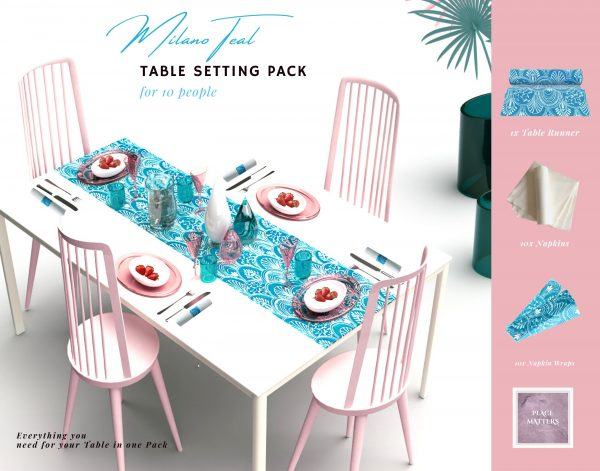 Blue Table Setting Pack For 10 People   Details Of Contents Listed in DescriptionPlacemats