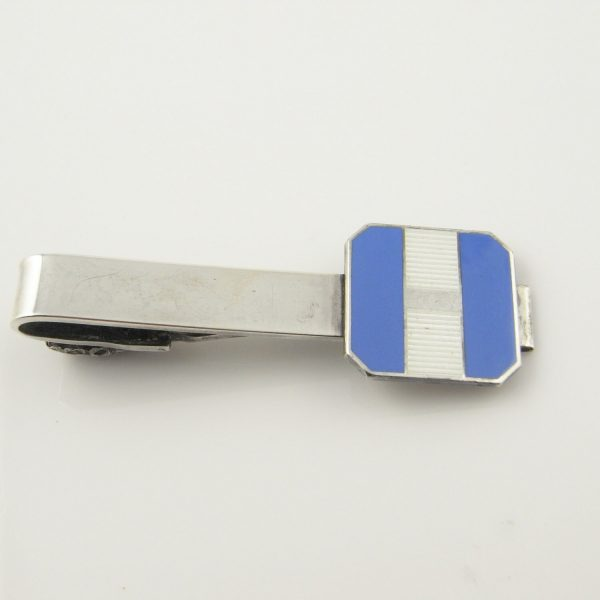 Blue & White Enameled Mens Sterling 925 Silver Tie Clasps Clips Bar Accessories Gifts 1950S Mid Century Minimalist Jewelry