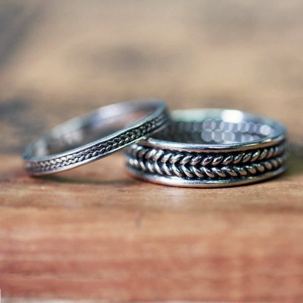 Braided Wedding Band, Silver Ring Set, Wheat Bands, Oxidized, Recycled Sterling Silver, Eco Friendly, Custom Made To Order