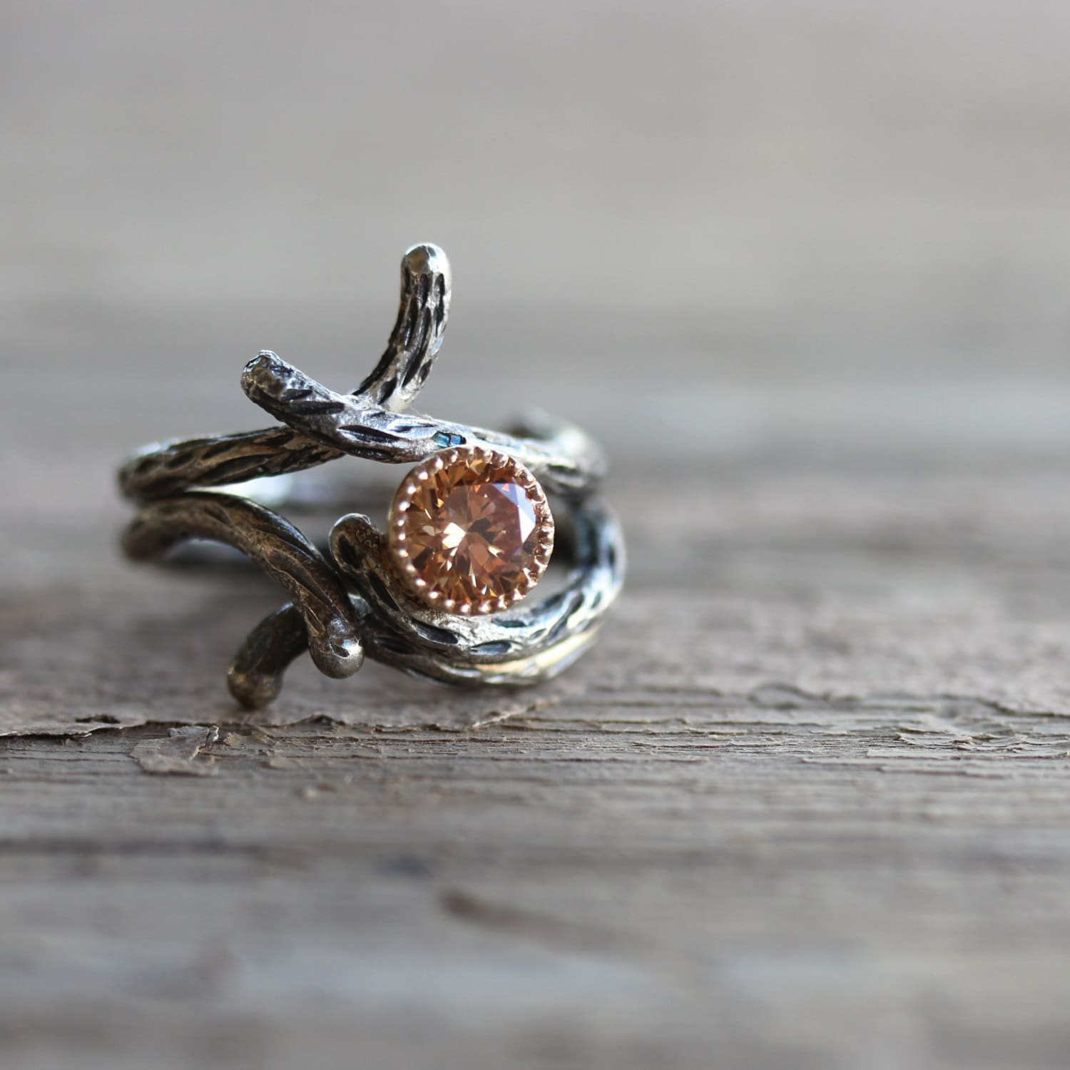 Branch Engagement Wedding Ring Set Silver 14K Yellow Gold Cz Peach Colored Sparkly Rustic Tree Twig Bridal - Sparkle Bark & Shadow