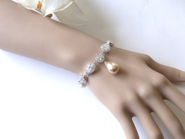 Bridal Bracelet Gold Champagne Teardrop Pearl With White Gold Peardrop & Round Cubic Zirconia Wedding