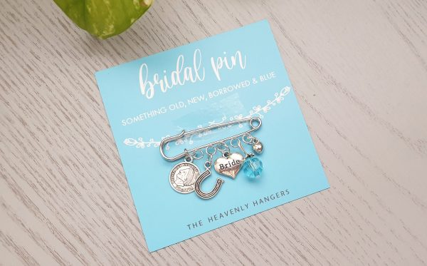Bridal Charm Pin Something Old, New, Borrowed & Blue Angel Lucky - Brides Gift, Wedding Weddings, Engagement, Pin, Brooch