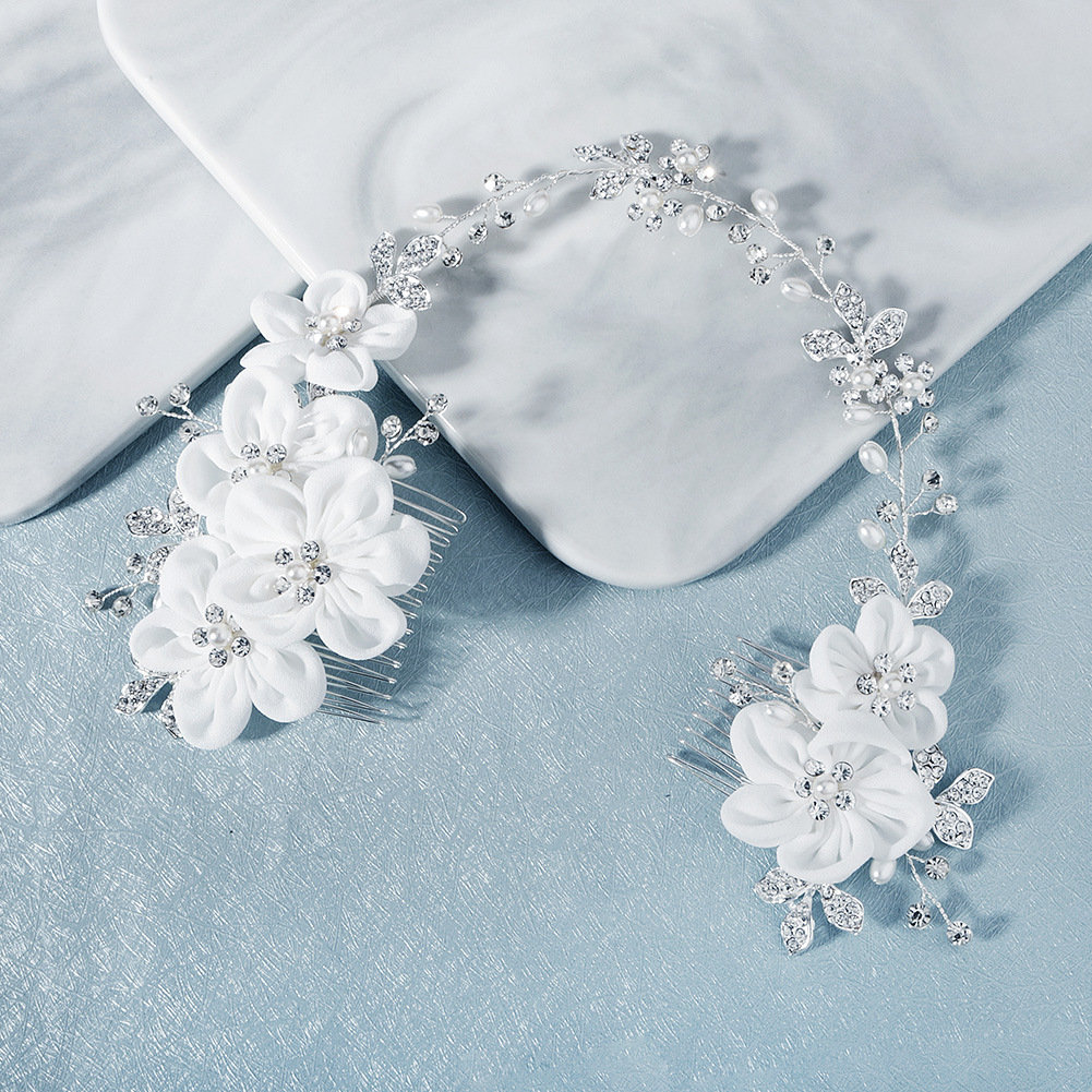 Bridal Hair Comb | Crystal Floral Flower Accessories Wedding Set Double Comb
