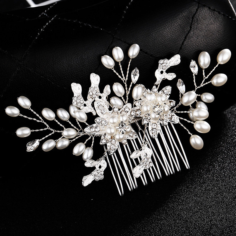 Bridal Hair Comb   Crystal Floral Silver Accessories Wedding Set