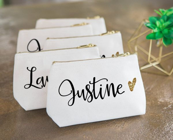 Bridal Party Makeup Bag, Wedding Gift For Bridesmaids, Canvas Pouch Name & Glitter Heart Cosmetic Bag   Item - cmg350