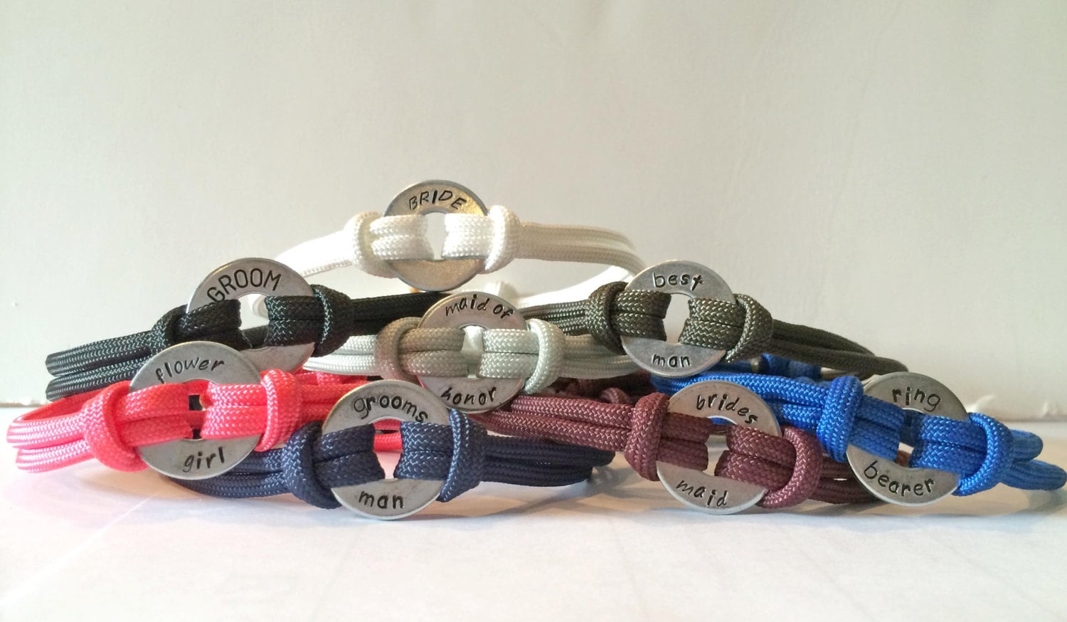 Bridal Party Personalized One Washer Double Strap Paracord Bracelet - Wedding, Bride, Groom, Bridesmaid, Grooms Man, Flower Girl