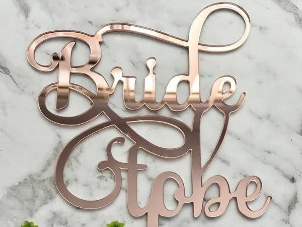 Bride To Be Cake Topper - Acrylic Rose Gold Bridal Shower Wedding Decoration