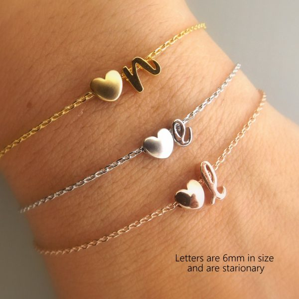 Bridesmaid Gift Initial & Heart Bracelet Personalized Jewelry Silver Rose Gold Wedding