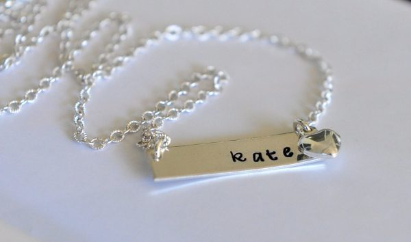 Bridesmaid Wedding Flower Girl Gift Necklace Weddings Name Bar Sterling Silver Jewelry