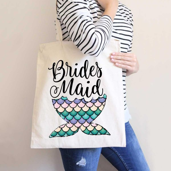 Bridesmaid Wedding Tote Bag, Bridal Party Gifts Mermaid Tail Colorful Design, Bride & Bags For Friends   Item - Mmb300