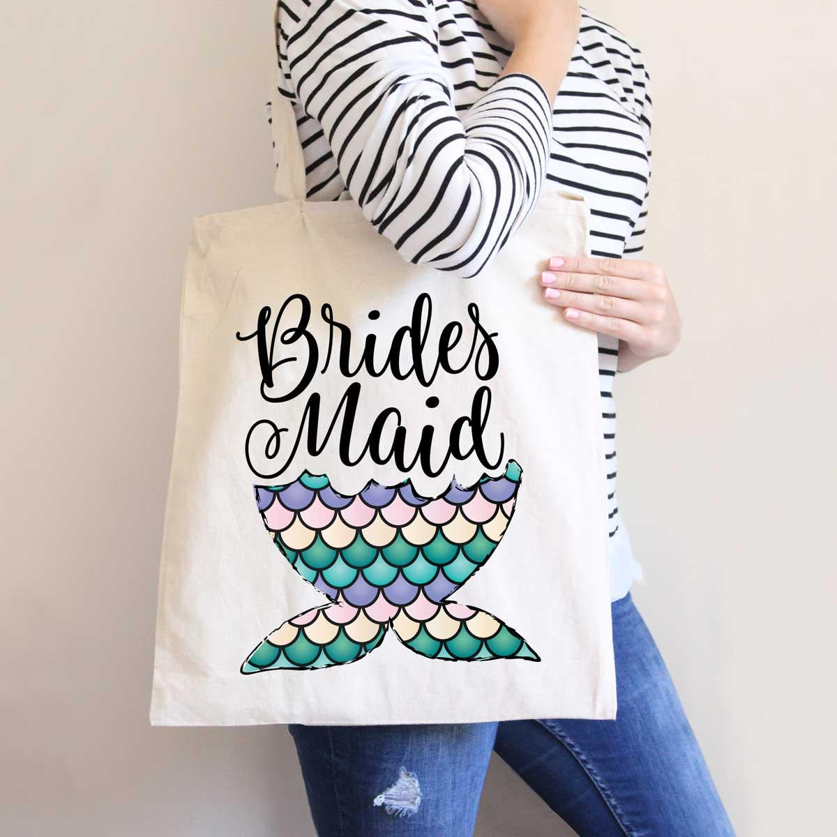 Bridesmaid Wedding Tote Bag, Bridal Party Gifts Mermaid Tail Colorful Design, Bride & Bags For Friends | Item - Mmb300