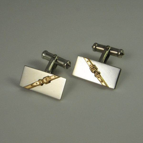 Buckle Design Vintage Estate Classic Luxury Mens Jewelry Accessories Sterling Silver 14K Yellow Gold Groom Cufflinks Cuff Links