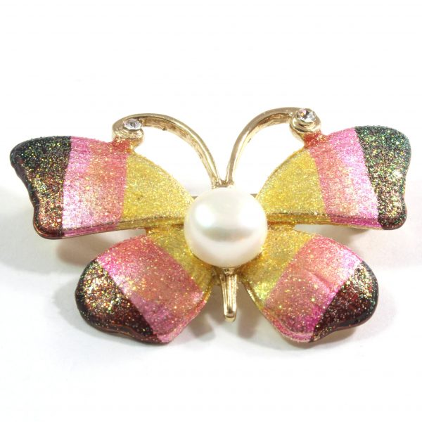 Butterfly White Freshwater Cultured Pearl Brooch 9.0-9.5mm