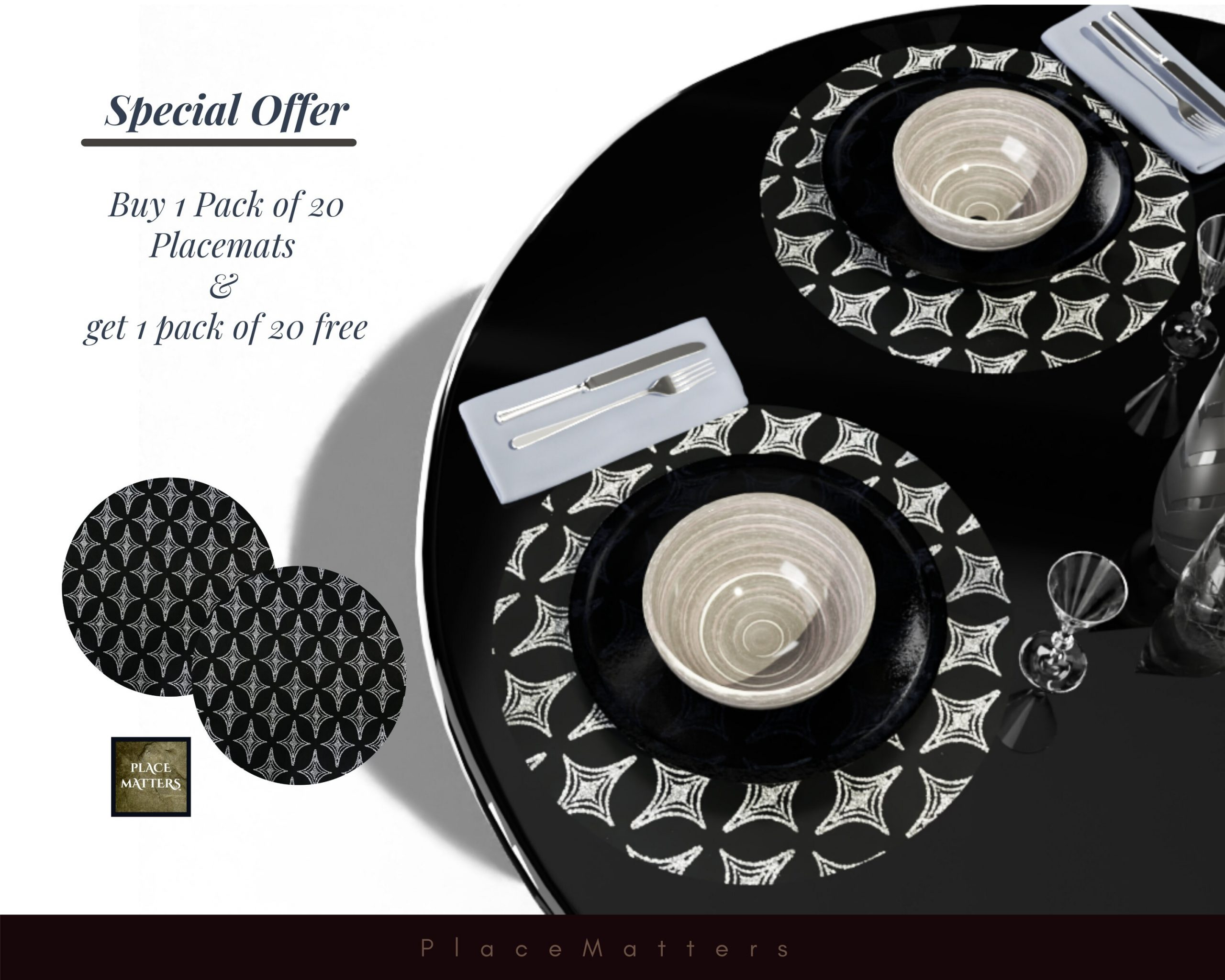 Buy 1 Pack & Get Free Wedding Charger Plates. Placemats. Round Black.wedding Chargers, | Sold in Packs Of 20 Placemats