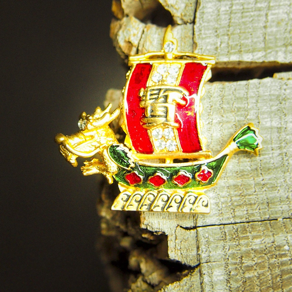 Chinese Boat Brooch #5414