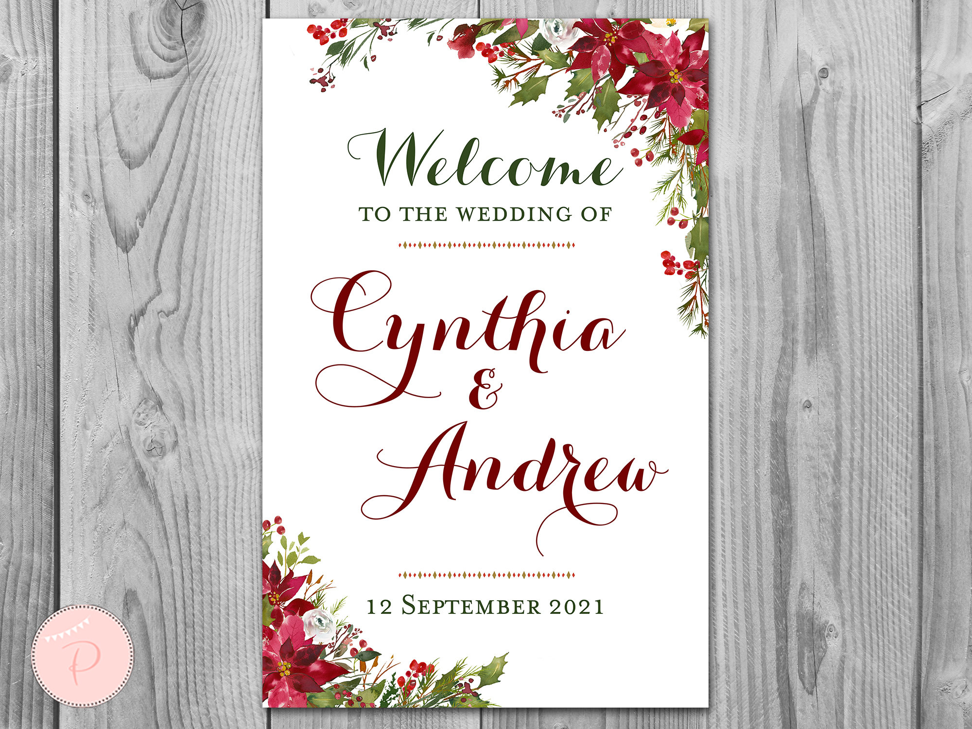 Christmas Personalized Welcome Wedding Sign, Wedding Sign, Red Pointsetta Floral Decoration, Printable Sign Th88 Ws34