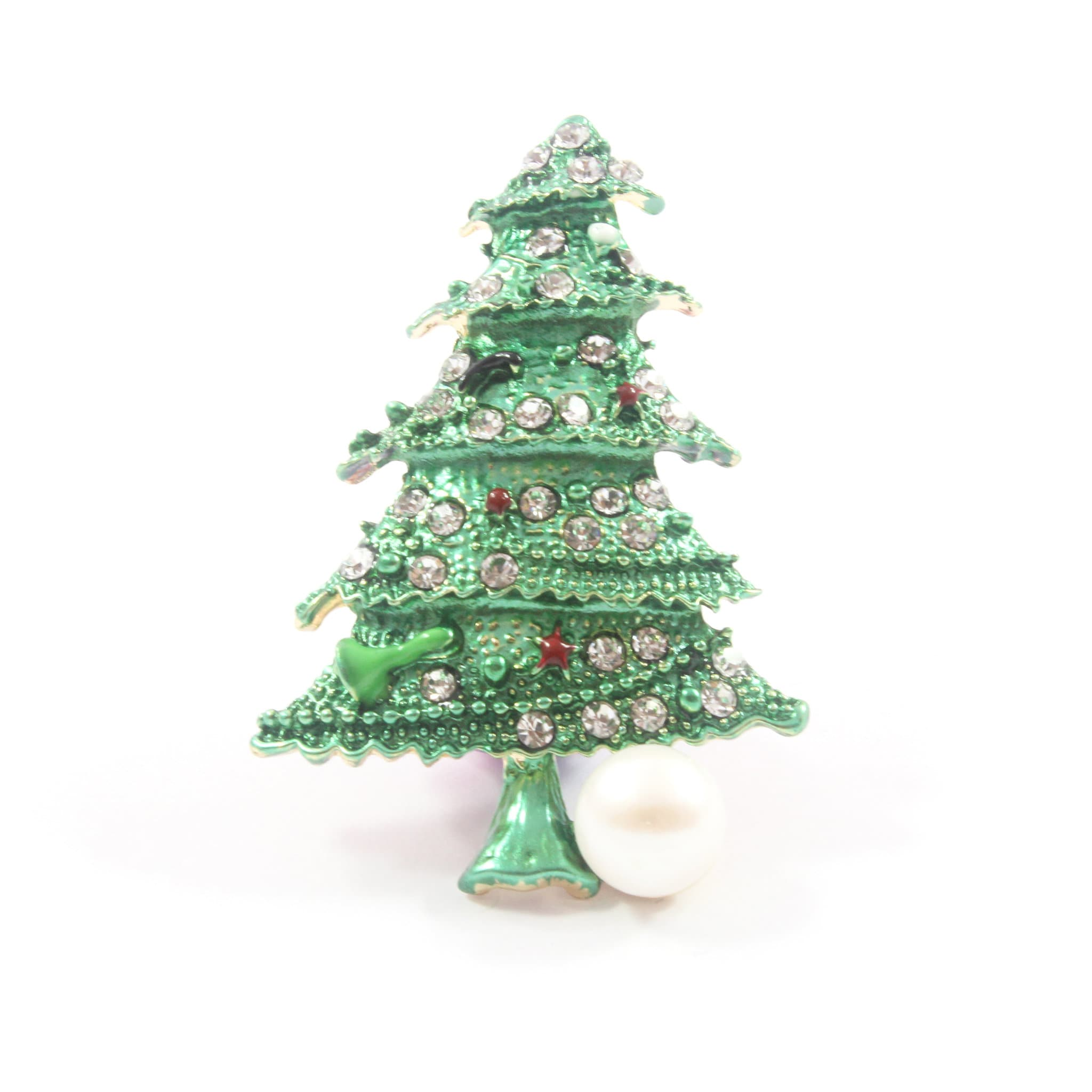 Christmas Tree Freshwater Cultured Pearl Brooch/Pendant 9.5-10.0mm