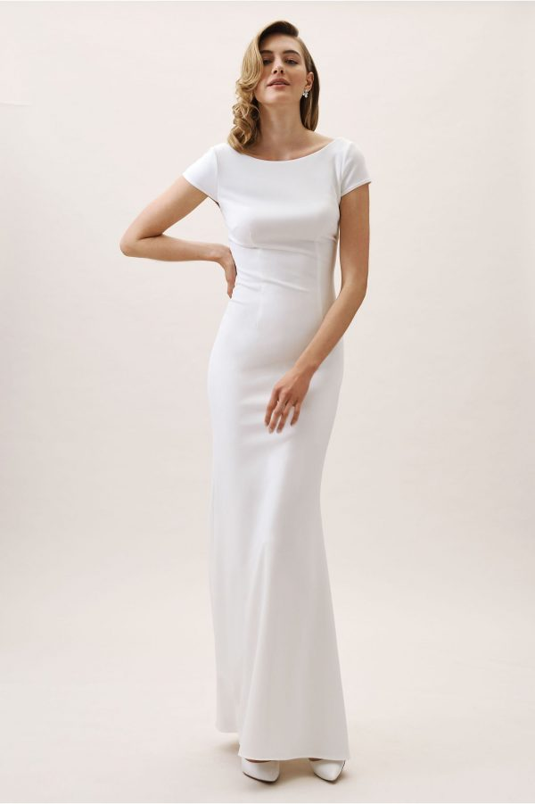 Classic Minimalist Silk Satin Wedding Dress, Made To Measure Elegant Bridal Gown With Short Sleeves & Unique Open Back