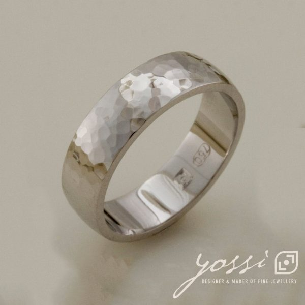 Classic Unity Hammered Finish Ring   Wedding Band Handmade Made To Order